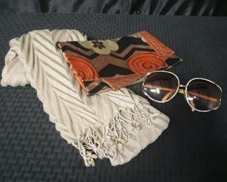 Vintage Diane Love purse, Christian Dior sunglasses scarf