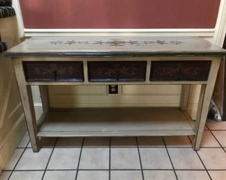 Beautiful Painted Wood Library/Entry Table with three drawers across the top and a bottom shelf