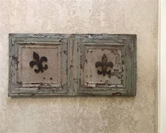 Antique Ceiling Tile mounted on wood frame (includes the large Fleur-e-lis magnets)