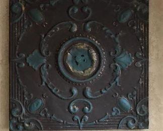 Antique Ceiling Tile mounted on wood frame