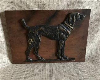 Cast Iron Dog on Wood