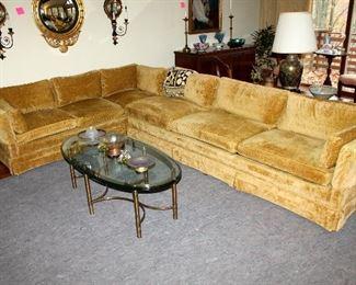 #1 - Vintage Henredon Gold Upholstered Down Sectional Sofa
