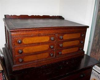 #6 - Antique 6 Drawer Spool Cabinet Desk