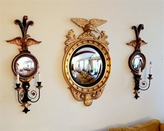 #17 - Regency Style Eagle Convex Mirror and Matching Sconces