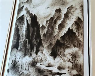 """#20 - Gene Kloss Signed Limited Edition Etching Print """"Canyon Clearing from Thunderstorm"""" - limited edition 6/50."""
