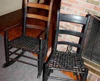 #22 - Antique Black Painted Rocking Chair and Chair