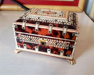 #24 - Anglo-Indian Faux Tortoise Shell and Bone Jewelry Box
