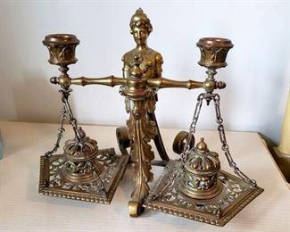 #26 - Antique Brass Inkwell