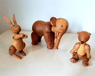 #48 - 1950's Kay Bojensen Denmark Wood Animals - Lot of 3