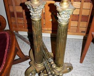 #55 - Antique Brass Column Andirons
