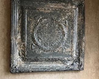 Painted Antique Ceiling Tile mounted on wood frame