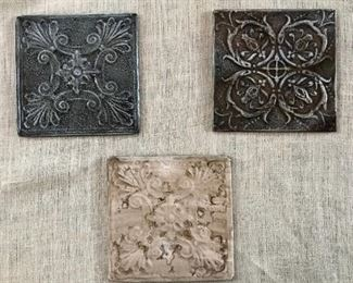 Set of 3 Painted Antique Ceiling Tiles mounted on wood frame