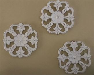 "Set of 3--9"" Country white wood medallions-Wall Decor"