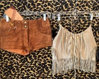 Never worn 1960s leather Low rise Hot Pants and groovy fringe leather halter