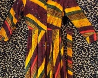 Cotton 1960s Colorful Dress with Belt