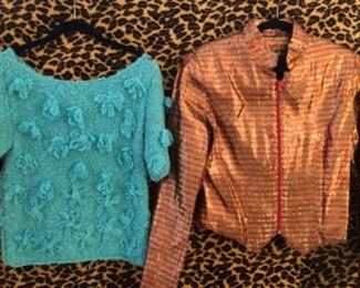 1960s Knit Sweater with Details and Tinsel Lame zip front 80s Jacket