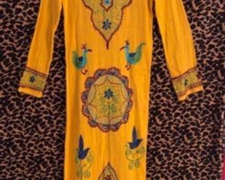 Exotic yellow vintage cotton dress