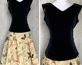 1950s 2 pc skirt and velvet top