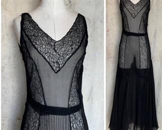 1930s silk chiffon and lace dress
