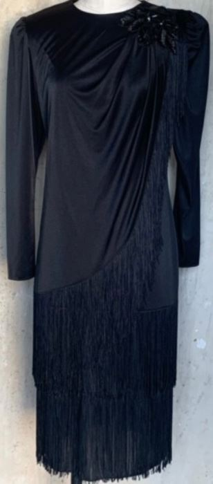 1980s does 40s fringed evening dress