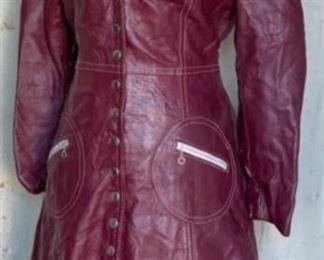1970s leather coat with back belt