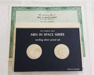 Men in Space Series Sterling Silver Proof Set - The Danbury Mint - England