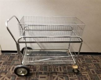 Chrome Double Mail Basket Rolling Cart