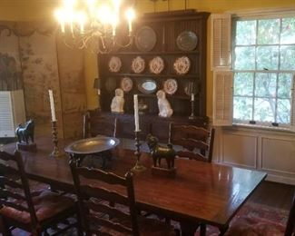 Beautiful vintage trestle table and 8 classic ladder back chairs