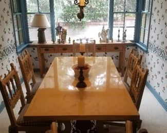 Large trestle table and 6 chairs