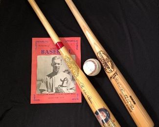 Signed Pee Wee Reese baseball & bats