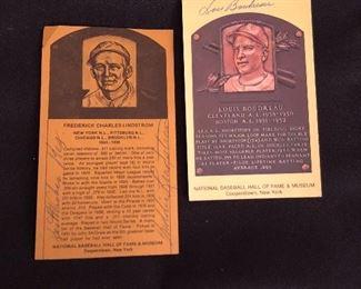 Signed Hall of Fame cards Freddie Lindstrim & Lou Boudreau