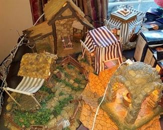 Fontanini Christmas village stable, tents, wishing well and more with lots of figures. All have boxes