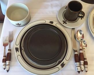 12-place setting of ROSENTHAL GERMANY STUDIO LINE HANDGEMALT SIENA BROWN with serving pieces and flatware for 12.