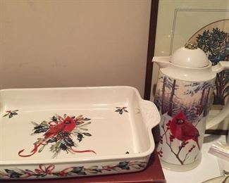 LENOX AMERICAN BY DESIGN WINTER GREETINGS  dinner plates, coffee server, casserole dish, large bowl and platter.