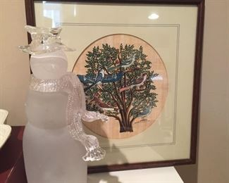Frosted glass snowman and framed print.