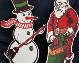 Vintage Metal Stand Ups Santa Snowman