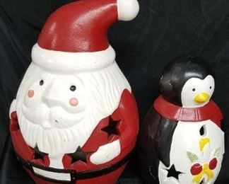 Large Terracotta Santa and Penguin