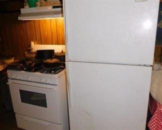 Whirlpool Estate Freezer/Fridge and Frigidaire gas stove