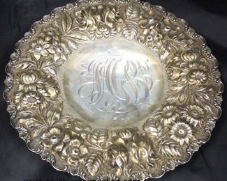 "AUCTION ""Stieff"" Sterling Pedestal Plate approximately 10.03 ozt  Auction Estimate $100-$200 – Located Glassware"