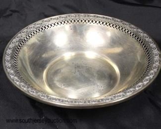 "Sterling 6"" Filigree Bowl approximately 2.08 ozt  Auction Estimate $40-$80 – Located Glassware"