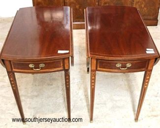 "— AWESOME —   PAIR of ""Councill Craftsmen Furniture"" SOLID Mahogany Inlaid and Banded Taper Leg Drop Side Pembroke One Drawer Tables  Auction Estimate $400-$800 – Located Inside"
