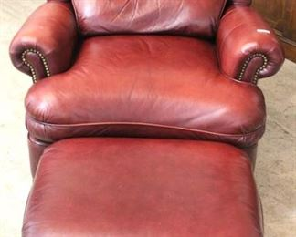 "— QUALITY —  ""Hancock and Moore"" Leather in the Burgundy Recliner Chair and Ottoman  Auction Estimate $600-$1200 – Located Inside"
