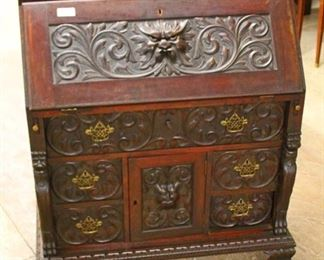 — AWESOME —  ANTIQUE SOLID Mahogany Highly Carved Slant Front Desk with Galley and Carved Griffins and Paw Feet in Original Finish  Auction Estimate $500-$1000 – Located Inside