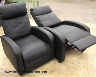 PAIR of Like New Modern Design Black Leather Recliners  Auction Estimate $300-$600 – Located Inside