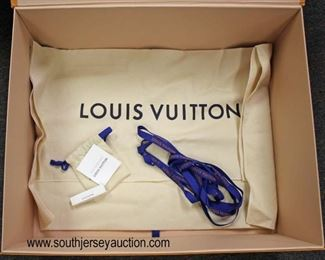 "Authentic ""Louis Vuitton"" Brown Shipping Box, Orange Purse Box, Dust Bag, Small Draw String Bag with a Sample Perfume and the Blue Ribbon  Auction Estimate $50-200 – Located Glassware"