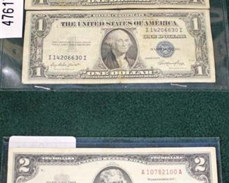 Selection of Silver Certificate $1.00 Bills and Red Seal $2.00 Bill  Auction Estimate $5-$10 each – Located Glassware