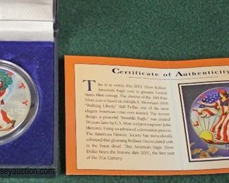 American Eagle 2001 Silver Dollar in Full Color with Certificate of Authenticity  Auction Estimate $20-$50 – Located Glassware