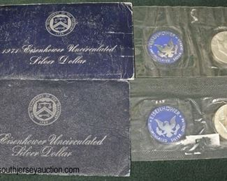 1971 and 1974 Eisenhower Uncirculated Silver Dollar  Auction Estimate $20-$50 each – Located Glassware