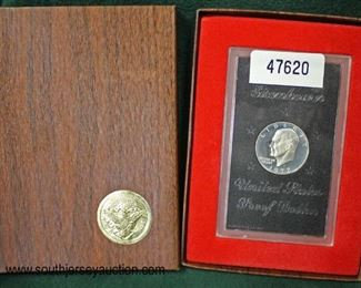 United States 1972 Eisenhower Proof Dollar  Auction Estimate $20-$50 – Located Glassware