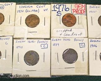Sheet of (8) Lincoln and Indian Head Pennies  Auction Estimate $2-$5 – Located Glassware